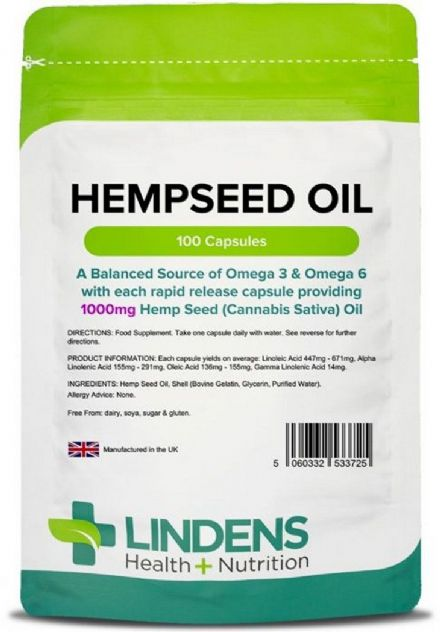 Hemp Seed Oil 1000mg x 100 Capsules; Rich Source Of Omega-3 & 6; Lindens